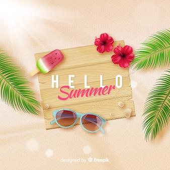 Realistische hallo zomer achtergrond op het strand