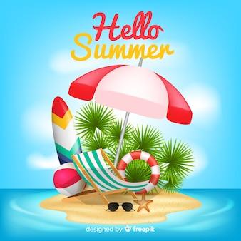 Realistische hallo zomer achtergrond