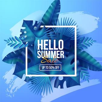 Realistische hallo zomer verkoop banner