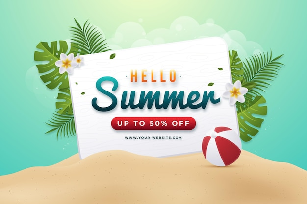 Realistische hallo zomer verkoop illustratie
