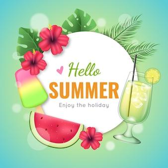 Realistische hallo zomerglazen cocktails