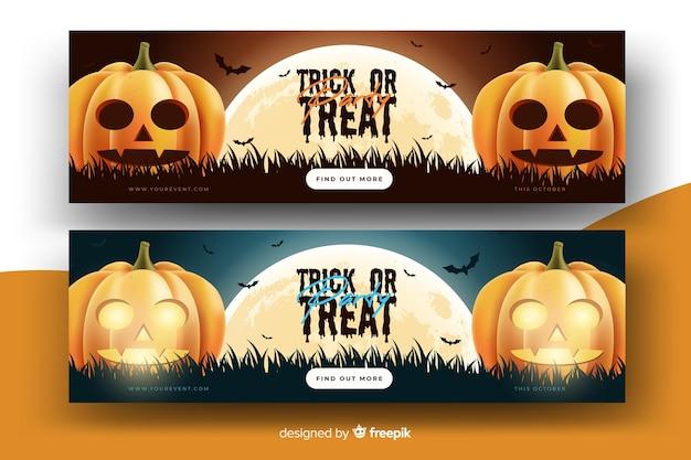 Realistische halloween-banners met pompoenen