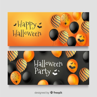 Realistische halloween-banners met schattige ballonnen