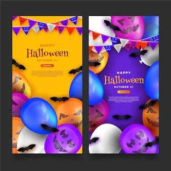 Realistische halloween banners sjabloon