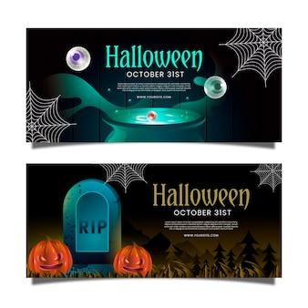 Realistische halloween-banners