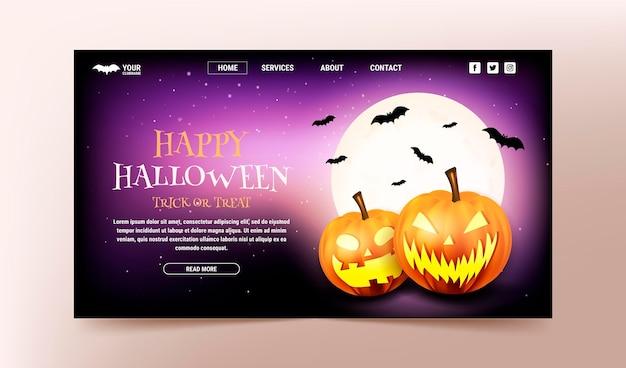 Realistische halloween-bestemmingspaginasjabloon