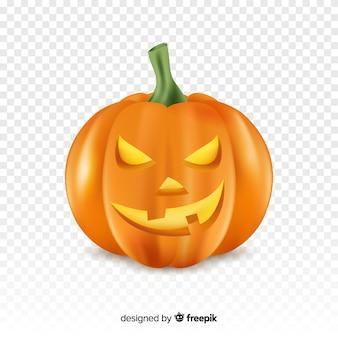 Realistische halloween boze pompoen met transparante achtergrond