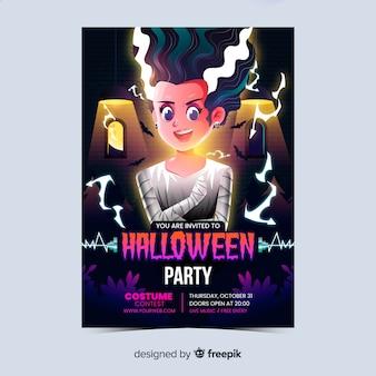 Realistische halloween-feestaffiche