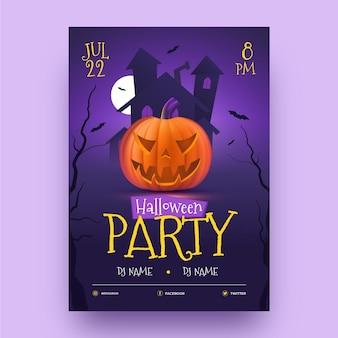 Realistische halloween-feestaffichemalplaatje