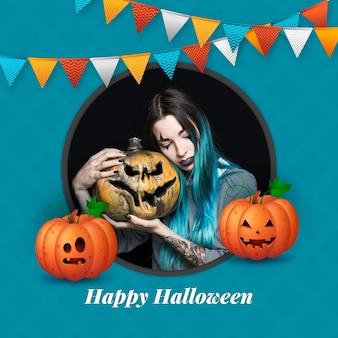 Realistische halloween-framesjabloon voor sociale media Gratis Vector