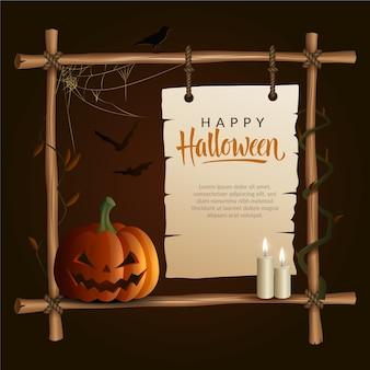 Realistische halloween-framesjabloon