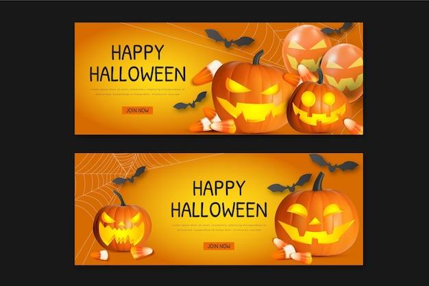 Realistische halloween horizontale banners set