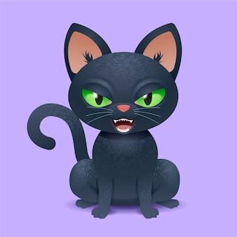 Realistische halloween-kattenillustratie