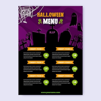 Realistische halloween menusjabloon