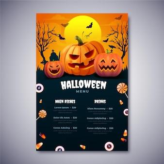 Realistische halloween-menusjabloon