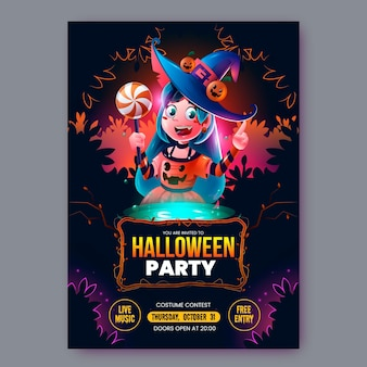 Realistische halloween party flyer-sjabloon