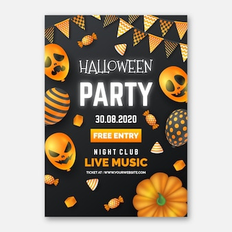 Realistische halloween party poster sjabloon