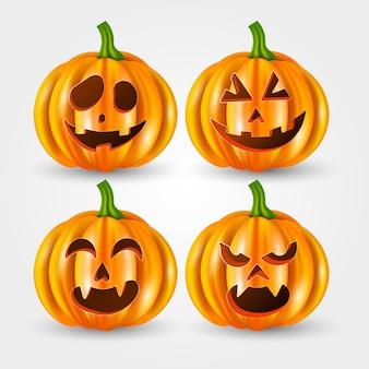 Realistische halloween-pompoencollectie