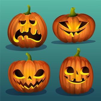 Realistische halloween-pompoenencollectie