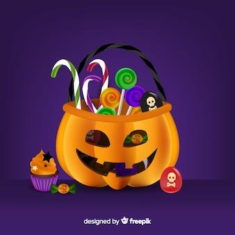 Realistische halloween-pompoenzak