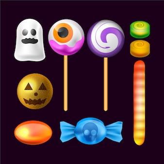 Realistische halloween-snoepcollectie