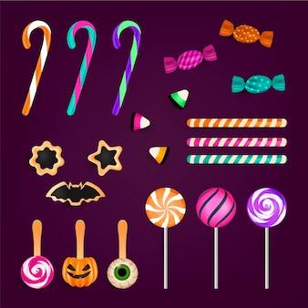 Realistische halloween-snoepverzameling