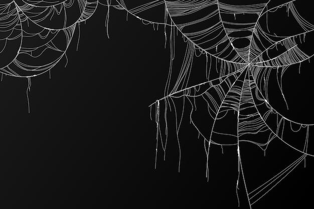 Realistische halloween-spinnenwebbencollectie