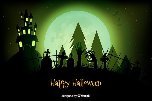 Realistische halloween-spookhuis en begraafplaatsachtergrond