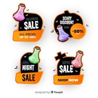 Realistische halloween verkoop badge collectie