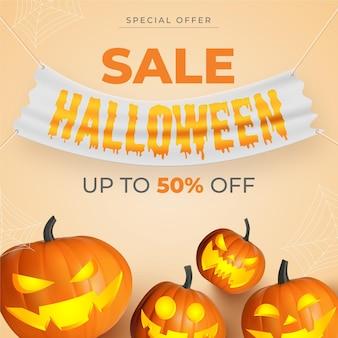 Realistische halloween-verkoop vierkante banner