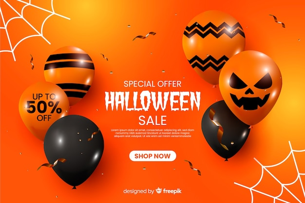 Realistische halloween-verkoopachtergrond met ballons