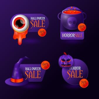 Realistische halloween-verkoopbadge-collectie