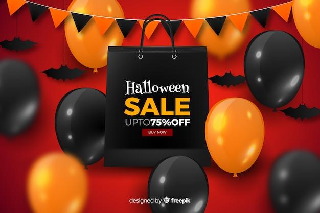 Realistische halloween-verkoopballons en slinger