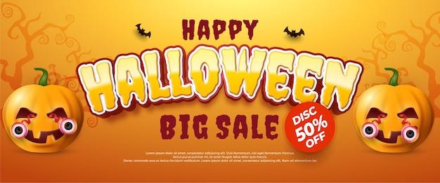 Realistische halloween-verkoopbanner met enge pompoenen, bovenaanzicht vectorillustratie.