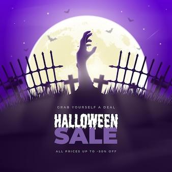 Realistische halloween-verkoopillustratie met begraafplaats