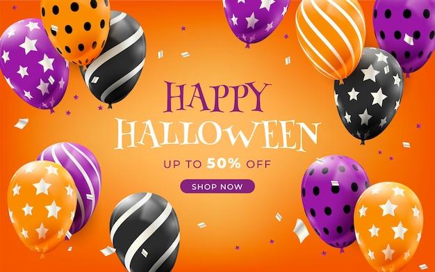 Realistische halloween-verkoopillustratie