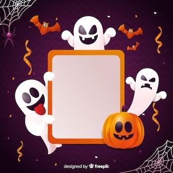 Realistische halloweennachtergrond met spook