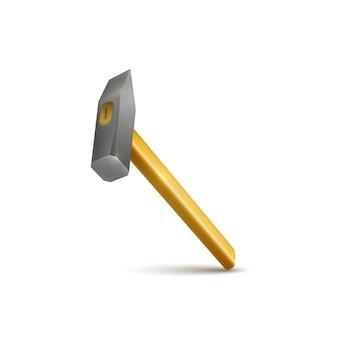 Realistische hamer met houten handvat geïsoleerd