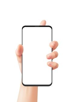 Realistische hand en telefoon. vrouw houdt smartphone vast, vrouw gebruikt smartphone, online communicatie slimme technologie, reclame op apparaatscherm 3d vector geïsoleerde mockup