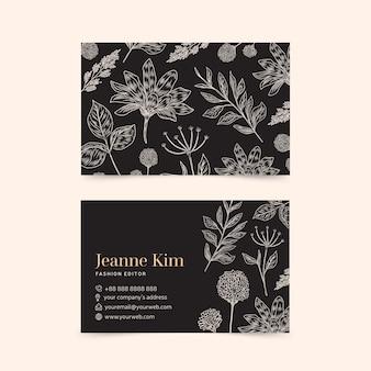 Realistische hand getekend floral sjabloon visitekaartje collectie