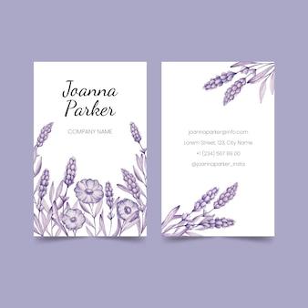 Realistische hand getekend floral visitekaartje ingesteld sjabloon