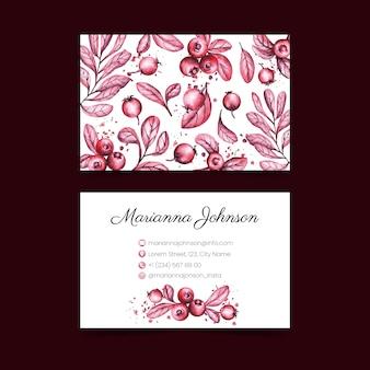 Realistische hand getekend floral visitekaartje sjabloon collectie