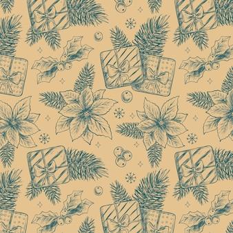 Realistische hand getekend kerst patroon