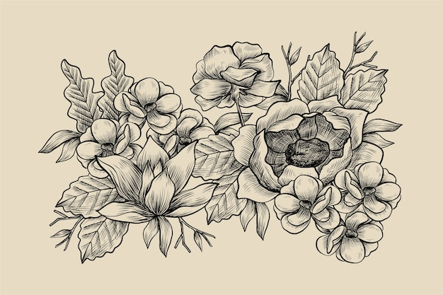 Realistische hand getekend vintage bloemen boeket