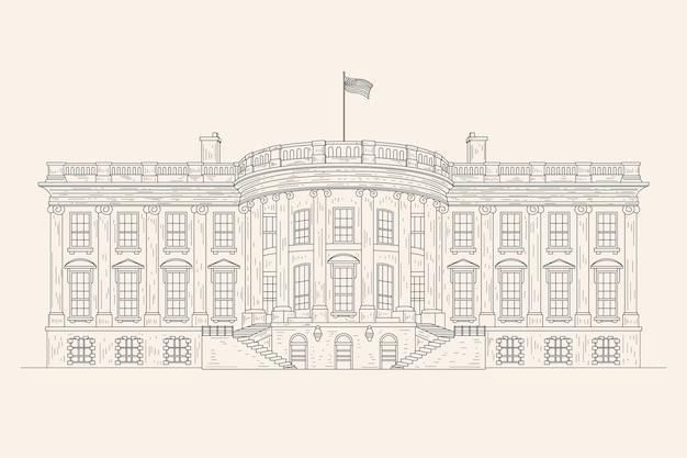 Realistische hand getekend witte huis illustratie