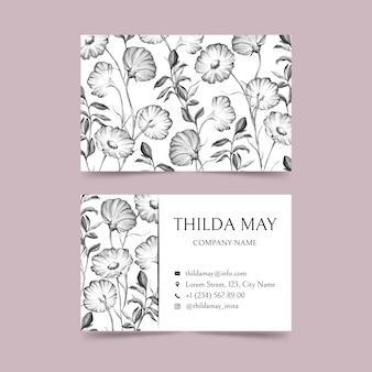 Realistische hand getekende bloemen visitekaartje sjabloon pack
