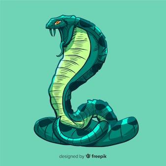 Realistische hand getrokken cobra achtergrond