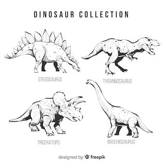 Realistische hand getrokken dinosaurusinzameling