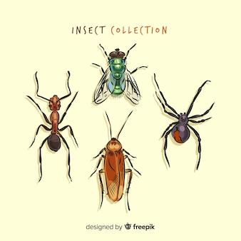 Realistische hand getrokken insectencollectie