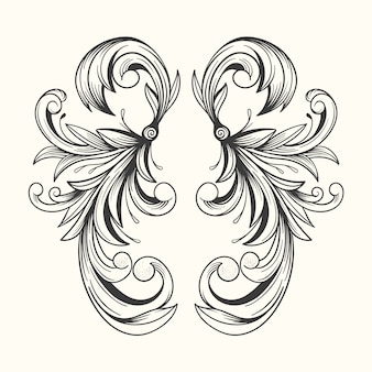 Realistische hand getrokken sierrand in barokstijl